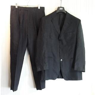 ヴェルサーチ(VERSACE)のsize50☆良品☆ヴェルサーチクラシック リネン製3釦スーツ ダークネイビー(セットアップ)