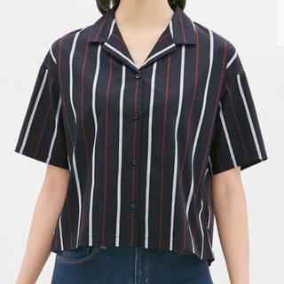 ジーユー(GU)のストライプオープンカラーシャツ(5分袖)(シャツ/ブラウス(半袖/袖なし))