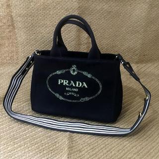 e602b5df027d プラダ(PRADA)のプラダ 2WAY カナパ バッグ ストライブネロブラック(ハンドバッグ)