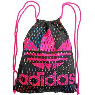 アディダス(adidas)の黒/ピンク  メッシュ  ナップサック(リュック/バックパック)