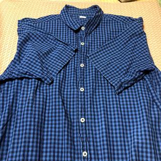 ジーユー(GU)の半袖シャツ チェック 長め XL(シャツ/ブラウス(半袖/袖なし))