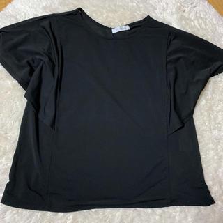 ジーユー(GU)のTシャツ 黒  ラッフルスリーブ(Tシャツ(半袖/袖なし))