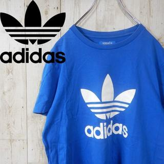 アディダス(adidas)のアディダス ビッグロゴ 90s トレフォイルロゴ Tシャツ M ブルー(Tシャツ/カットソー(半袖/袖なし))