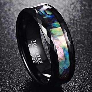 Vakki リング 男女兼用 指輪 タングステン + アワビシェル 幅8mm(リング(指輪))