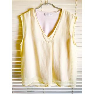 セシルマクビー(CECIL McBEE)の☆CECILMcBEE イエロー黄色 Vネックフレンチノースリーブ ブラウス☆(シャツ/ブラウス(半袖/袖なし))