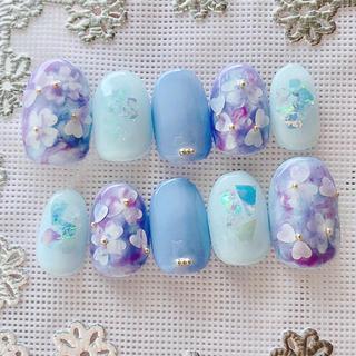 現品販売♡紫陽花ネイルチップ