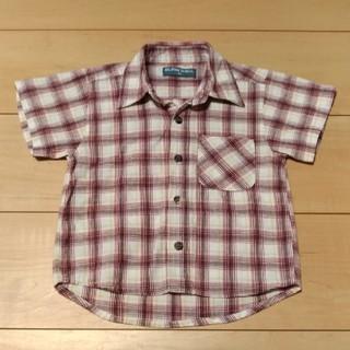 ニシマツヤ(西松屋)の美品 キッズ チェック柄 半袖車シャツ 95cm(ブラウス)