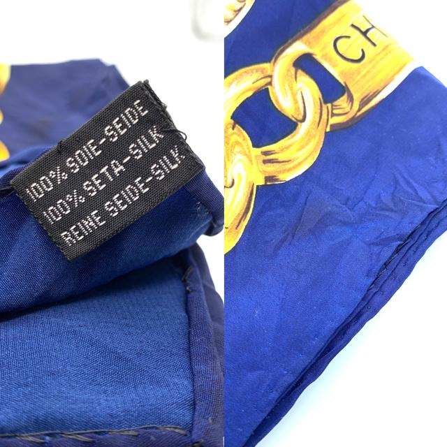 CHANEL(シャネル)の シャネル CHANEL 大判ハンカチ スカーフ チェーン柄 ヴィンテージ レディースのファッション小物(ハンカチ)の商品写真