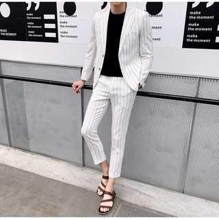 メンズスーツセットアップ人気ホスト定番ビジネス司会者スリム紳士服白 OT068