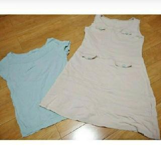 フェリシモ(FELISSIMO)のフェリシモ ジャンパースカート & 半袖シャツ(ひざ丈ワンピース)
