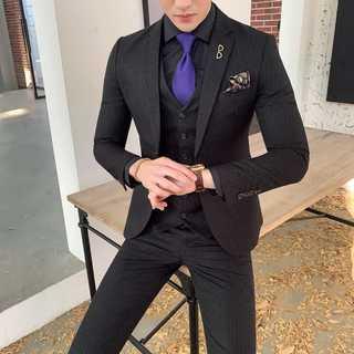 メンズスーツセットアップ大人気ホストビジネス司会者スリム紳士服黒 OT077