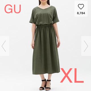 GU - GU  ウエストマークVネックワンピース  XL