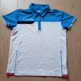 ディアドラ(DIADORA)のDIADORA ポロシャツ 白×水色 Lサイズ(ウェア)