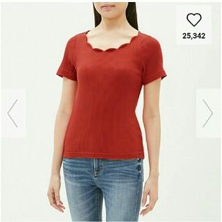 ジーユー(GU)のGU リブ スカラップ 半袖ニット(Tシャツ(半袖/袖なし))