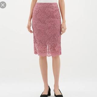 ジーユー(GU)のレースタイトスカート ピンク(ひざ丈スカート)