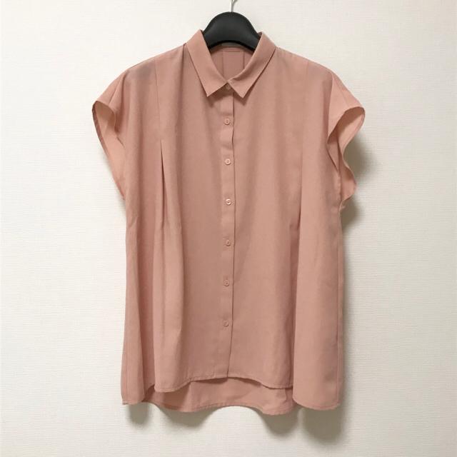 GU(ジーユー)のGU シャツ ブラウス サーモンピンク レディースのトップス(シャツ/ブラウス(半袖/袖なし))の商品写真