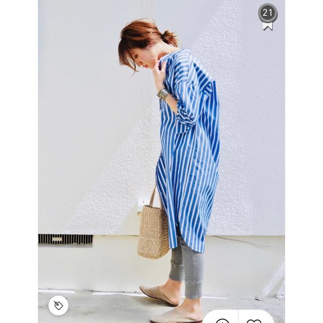 GU(ジーユー)のストライプシャツワンピース レディースのワンピース(ひざ丈ワンピース)の商品写真