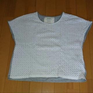 バビロン(BABYLONE)のsaloon by babylone  ホワイト/グレー半袖 シャツ(Tシャツ(半袖/袖なし))