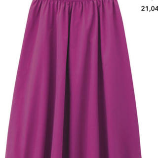 ジーユー(GU)のgu    デニム イージーカラースカート パープル ピンク(ひざ丈スカート)