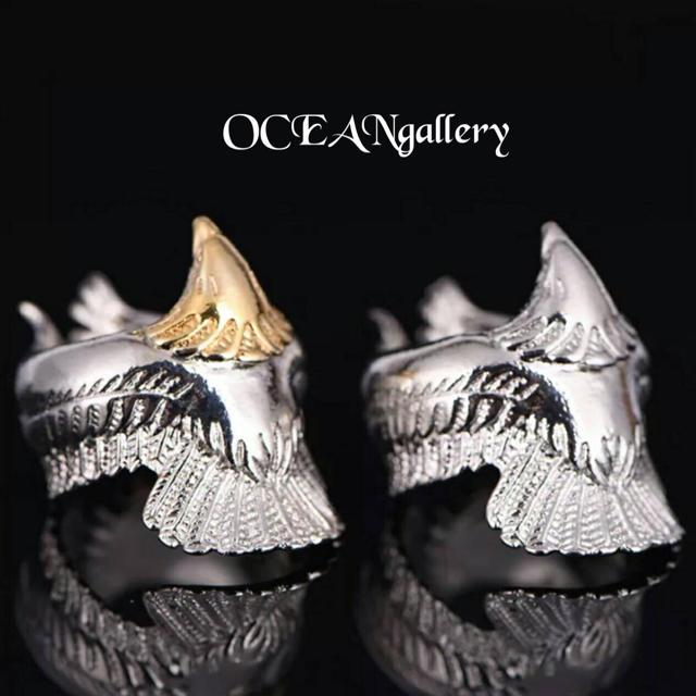 送料無料 13号 シルバー ビッグ メタル イーグル リング 指輪 鷲 メンズのアクセサリー(リング(指輪))の商品写真