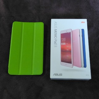 エイスース(ASUS)のau タブレット Memo Pad 8 AST21用 PU手帳型ケース グリーン(Androidケース)