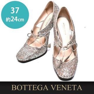 ボッテガヴェネタ(Bottega Veneta)のほぼ新品❤️ボッテガヴェネタ フラミンゴ グリッター パンプス 37(約24cm(ハイヒール/パンプス)