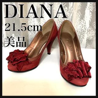 ダイアナ(DIANA)の美品 DIANA ダイアナ スエード エナメル パンプス ボルドー 21.5cm(ハイヒール/パンプス)