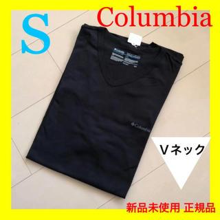コロンビア(Columbia)の新品 コロンビア 黒 Tシャツ シンプル V襟 ノースやパタゴニア好きも S(Tシャツ/カットソー(半袖/袖なし))
