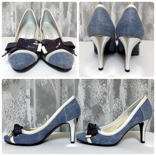 DIANA(ダイアナ)のDIANA ダイアナ デニム リボン パンプス 青 20.5cm レディースの靴/シューズ(ハイヒール/パンプス)の商品写真