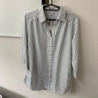 シマムラ(しまむら)の新品未使用タグ付き 麻 ストライプシャツ(シャツ/ブラウス(長袖/七分))