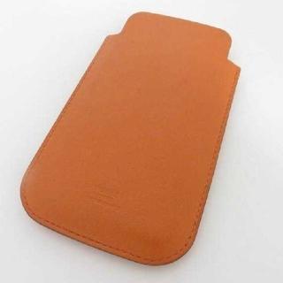エルメス(Hermes)の美品★エルメス iPhone スマホケース カードケース パンチング オレンジ(iPhoneケース)