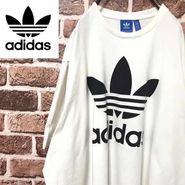 adidas(アディダス)の【激レア】アディダスビッグトレフォイルロゴビッグサイズ人気のホワイト半袖Tシャツ メンズのトップス(Tシャツ/カットソー(半袖/袖なし))の商品写真