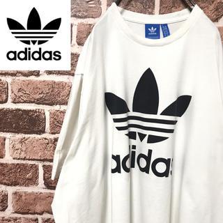 アディダス(adidas)の【激レア】アディダスビッグトレフォイルロゴビッグサイズ人気のホワイト半袖Tシャツ(Tシャツ/カットソー(半袖/袖なし))