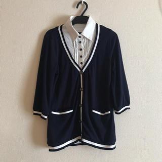 シマムラ(しまむら)のシャツ×カーディガン レイヤード風トップス(カットソー(長袖/七分))