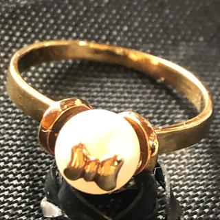 k18   リボン パール  リング(リング(指輪))