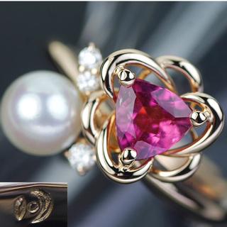 タサキ(TASAKI)の田崎真珠 タサキ TASAKI K18 トルマリン ダイヤモンド パールリング(リング(指輪))