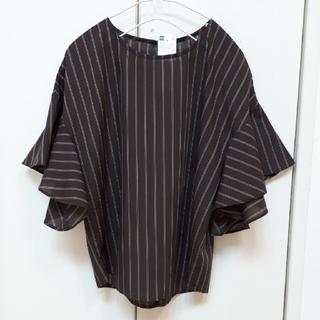 ジーユー(GU)のGUストライプフレアスリーブブラウス(シャツ/ブラウス(半袖/袖なし))