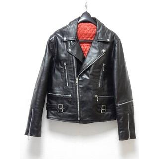 極上美品!ライトニング型リアルレザーダブルライダースジャケット666ルイス黒(ライダースジャケット)