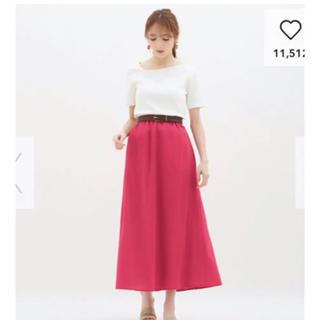 ジーユー(GU)のジーユー リネンブレンドフレアロングスカート ピンク S(ロングスカート)