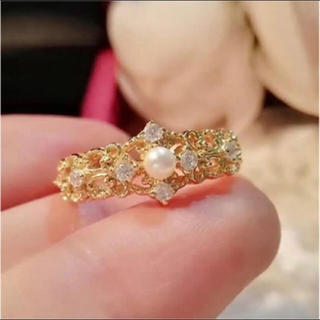 AAAランクダイヤモンドcz パール リング 指輪 ゴールド(リング(指輪))
