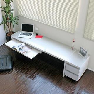 鏡面仕上ロータイプ150cm幅パソコンデスク2点セット シルバー&ホワイト日本製