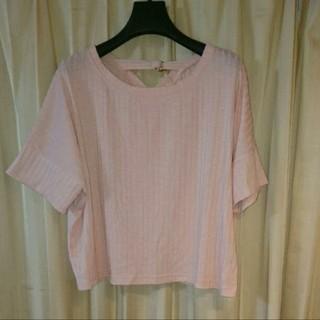 ジーユー(GU)のGU  ピンクサマーニット サイズL(カットソー(半袖/袖なし))