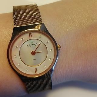 スカーゲン(SKAGEN)のスカーゲン 腕時計 レディース ピンクゴールド スワロフスキー パール(腕時計)
