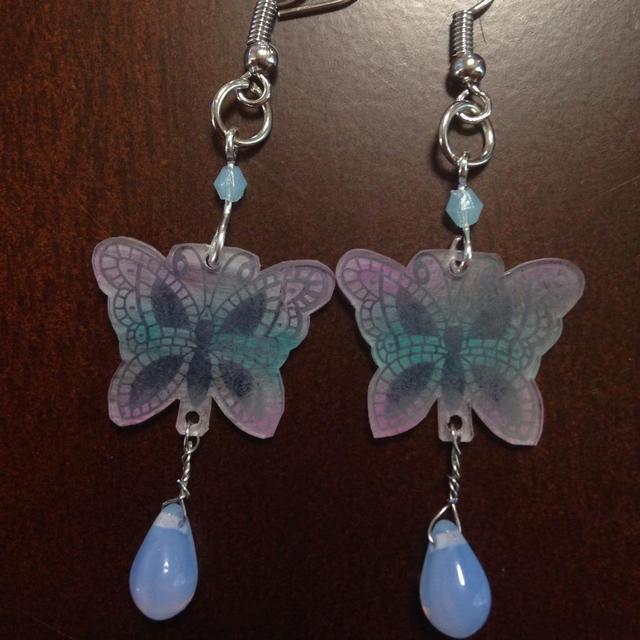 蝶々ピアス ブルー レディースのアクセサリー(ピアス)の商品写真