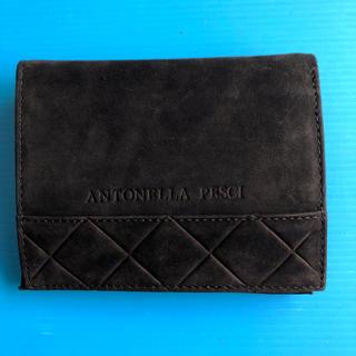 二つ折り財布 スウェード調 黒 (財布)