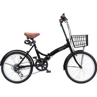 173.折りたたみ自転車 カゴ付 20インチ S字フレーム 6段ギア ブラック