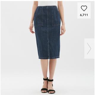 ジーユー(GU)の新品【GU】デニムスカート(ひざ丈スカート)
