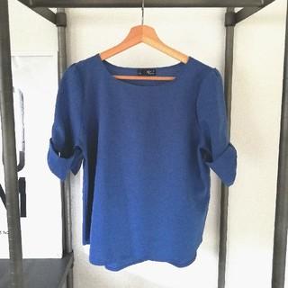 シマムラ(しまむら)のブルーのトップス(カットソー(半袖/袖なし))