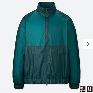 ユニクロ(UNIQLO)のUNIQLO U ポケッタブルトラックジャケット グリーン Lサイズ(ナイロンジャケット)