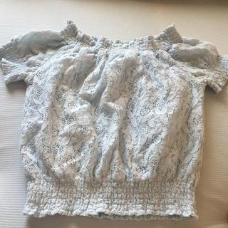 セシルマクビー(CECIL McBEE)のCECIL Mc BEE レース オフショル 水色(シャツ/ブラウス(半袖/袖なし))